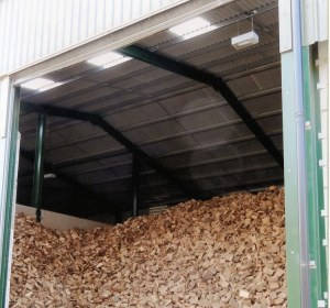 Once the wood has been dried down from approx 40% moisture to an average moisture level of 20% it is moved into storage barns.